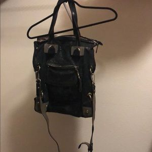 Black&Gray shiny metallic fold-over bag